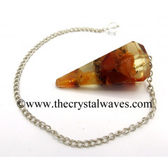Carnelian Chips Orgone Faceted Pendulum