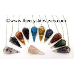 Mix Assorted Gemstone Chips Orgone Faceted Pendulum