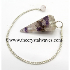 Rose, Amethyst & Crystal Quartz Chips Orgone Faceted Pendulum