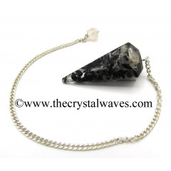Black Tourmaline & Selenite Chips Orgone Faceted Pendulum