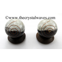 Black Tourmaline & Selenite Layered Chips Orgone Ball / Sphere