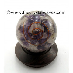 Rose, Amethyst & Crystal Quartz Chips Orgone Ball / Sphere