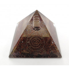 Red Jasper Chips Orgone Pyramids With Copper Wrrapped Crystal Point