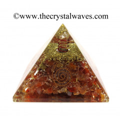 Carnelian Chips Orgone Pyramids With Copper Wrrapped Crystal Point