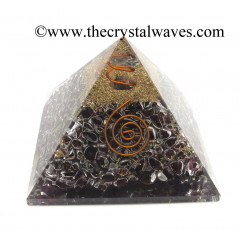 Garnet Chips Orgone Pyramids With Copper Wrrapped Crystal Point