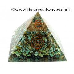 Turquoise Natural Chips Orgone Pyramids With Copper Wrrapped Crystal Point