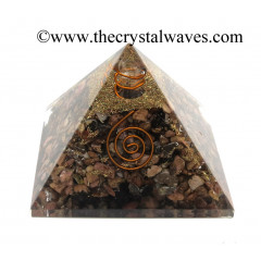 Rhodonite Chips Orgone Pyramids With Copper Wrrapped Crystal Point