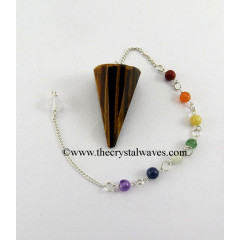 Tiger Eye Agate Faceted Pendulum With Chakra Chain