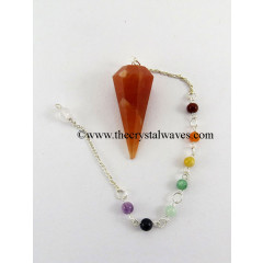Red Aventurine  Faceted Pendulum With Chakra Chain