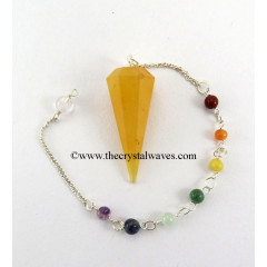 Yellow Aventurine Faceted Pendulum With Chakra Chain
