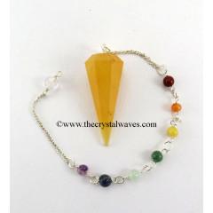 Yellow Aventurine Faceted Pendulum With Chakra Chain