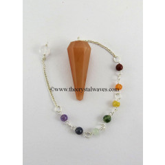 Peach Moonstone Faceted Pendulum With Chakra Chain
