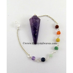 Amethyst Faceted Pendulum With Chakra Chain