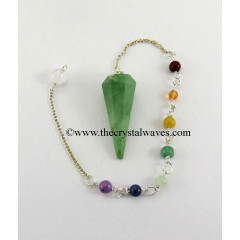 Green Aventurine Faceted Pendulum With Chakra Chain