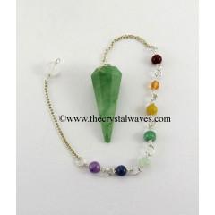 Green Aventurine Faceted Pendulum With Chakra Chain