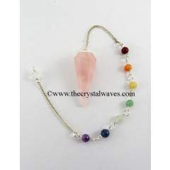 Rose Quartz Faceted Pendulum With Chakra Chain