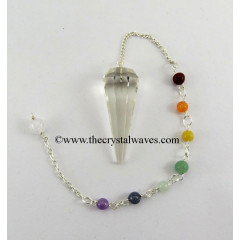 Crystal Quartz AA Grade Faceted Pendulum With Chakra Chain
