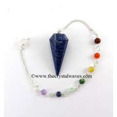 Lapis Lazuli Faceted Pendulum With Chakra Chain