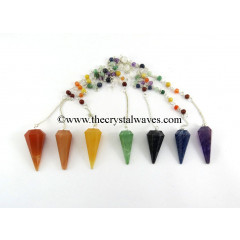Chakra Set Of Faceted Pendulums With Chakra Chain