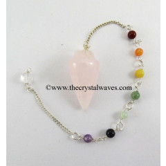 Rose Quartz  Smooth Pendulum With Chakra Chain