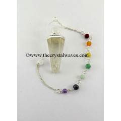 Crystal Quartz 2 Pc Pencil Pendulum With Chakra Chain