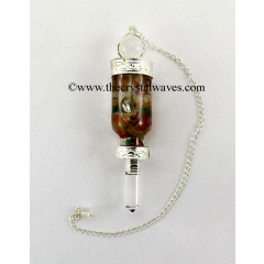 Crystal Quartz 3 Pc Pendulum With Bottled Chakra Chips