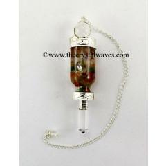 Crystal Quartz 3 Pc Pendulum With Bottled Chakra Chips