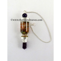 Amethyst 3 Pc Pendulum With Bottled Chakra Chips