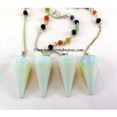 Opalite Faceted Pendulum With Chakra Chain