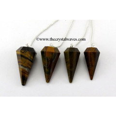 Tiger Eye Agate Faceted Pendulum