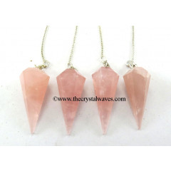 Rose Quartz Good Color Faceted Pendulum