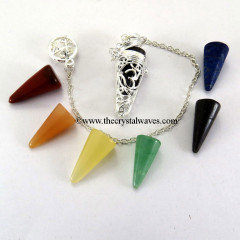 Chakra Cone Pendulum With Om Silver Cage