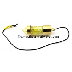 Yellow Dyed Quartz Chips Bottle Pendulum