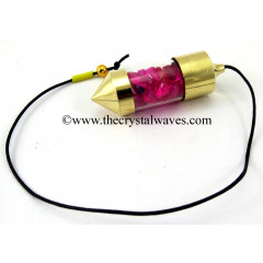 Pink Dyed Quartz Chips Bottle Pendulum