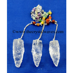 Crystal Quartz 4 Sided Hand Knapped Pendulum With Chakra Chain