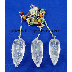 Crystal Quartz 3 Sided Hand Knapped Pendant With Chakra Chain