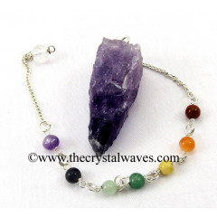 Amethyst  4 Sided Hand Knapped Pendulum With Chakra Chain