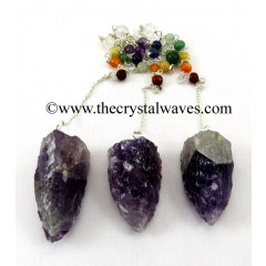 Amethyst  3 Sided Hand Knapped Pendant With Chakra Chain