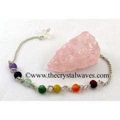 Rose  Quartz 4 Sided Hand Knapped Pendulum With Chakra Chain
