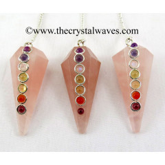 Rose Quartz  Faceted Chakra Pendulum
