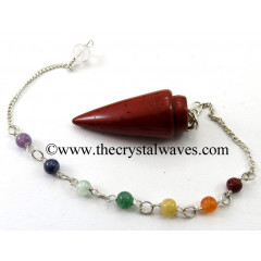 Red Jasper Smooth Pendulum With Chakra Chain