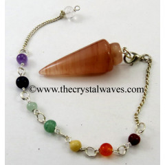 Peach Moonstone Smooth Pendulum With Chakra Chain