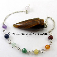Yellow Tiger Eye Agate Smooth Pendulum With Chakra Chain