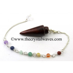Red Tiger Eye Agate Smooth Pendulum With Chakra Chain