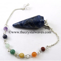 Sodalite Smooth Pendulum With Chakra Chain