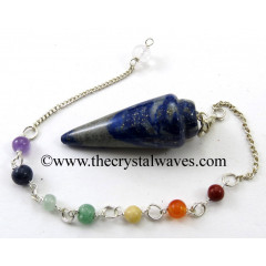 Lapis Lazuli Smooth Pendulum With Chakra Chain