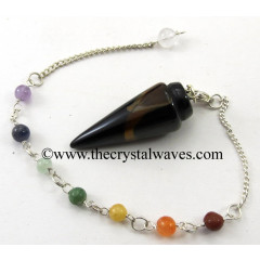 Blue / Black Tiger Eye Agate Smooth Pendulum With Chakra Chain