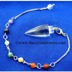 Crystal Quartz A Grade Smooth Pendulum With Chakra Chain