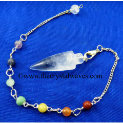 Crystal Quartz Smooth Pendulum With Chakra Chain