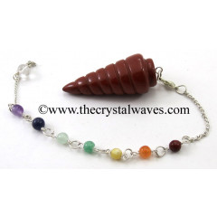 Red Jasper Spiral Pendulum With Chakra Chain